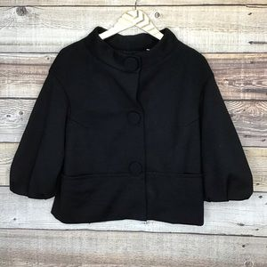 Vince Snap Button Jacket 3/4 Sleeve Medium Black